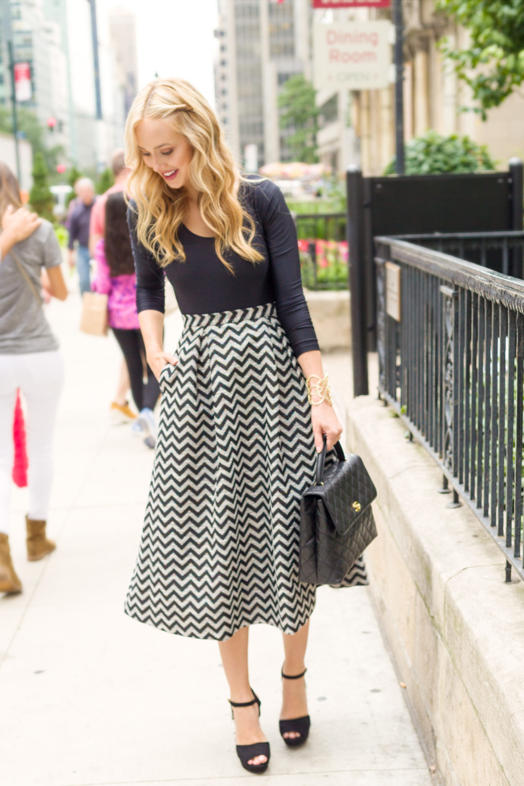 Black & White Jacquard Skirt