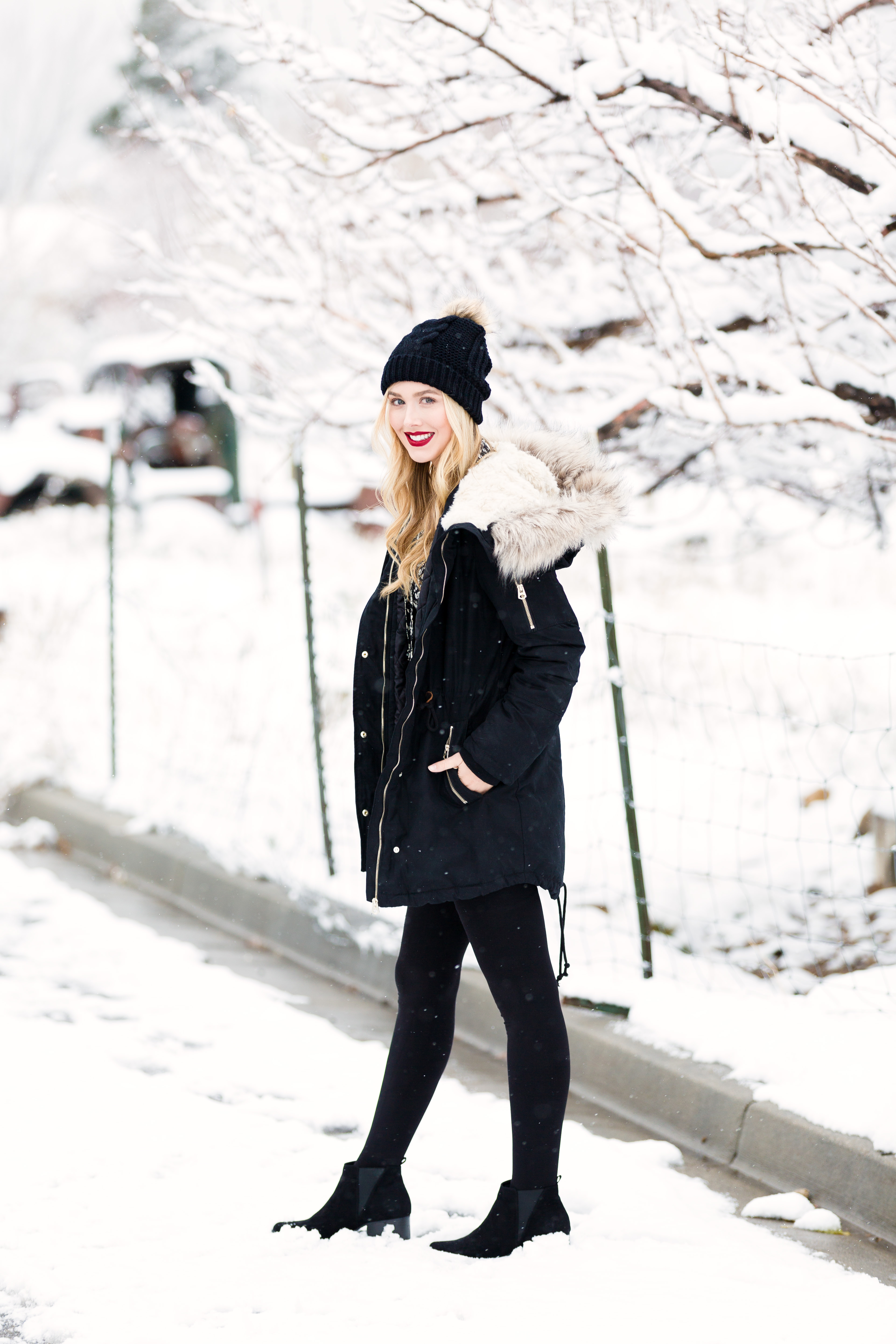 h&m black coat with fur