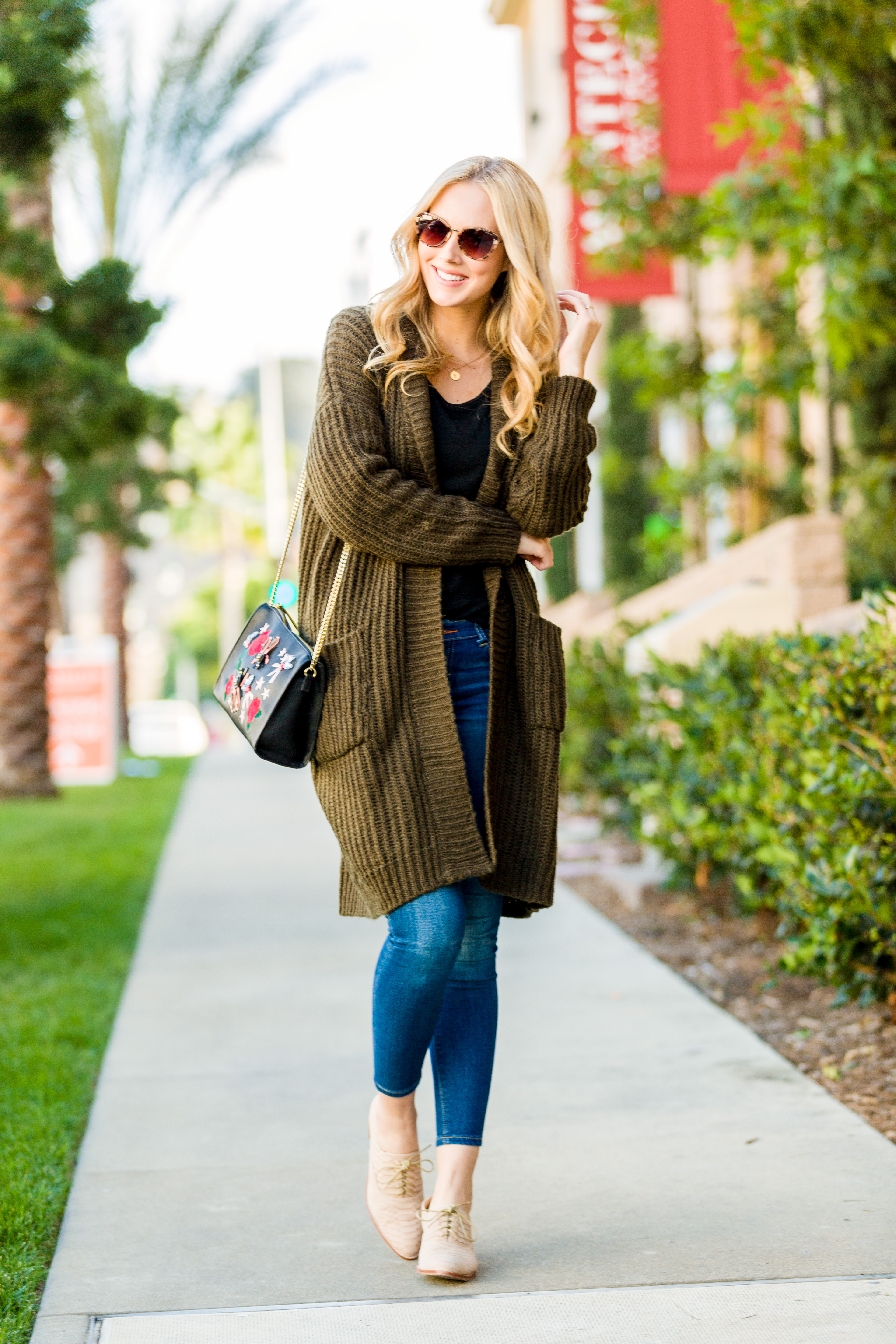 Forever 21 Green Cardigan
