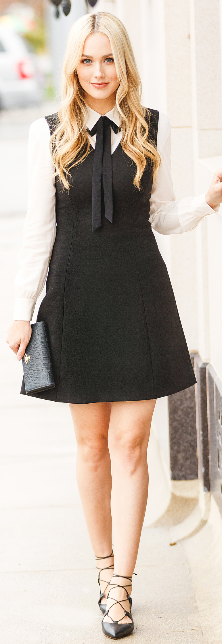 Black & Cream Dress (similar) – Lace Up Flats – Clutch - Fashion outfit - Blue Eyed Finch - Sheridan Gregory