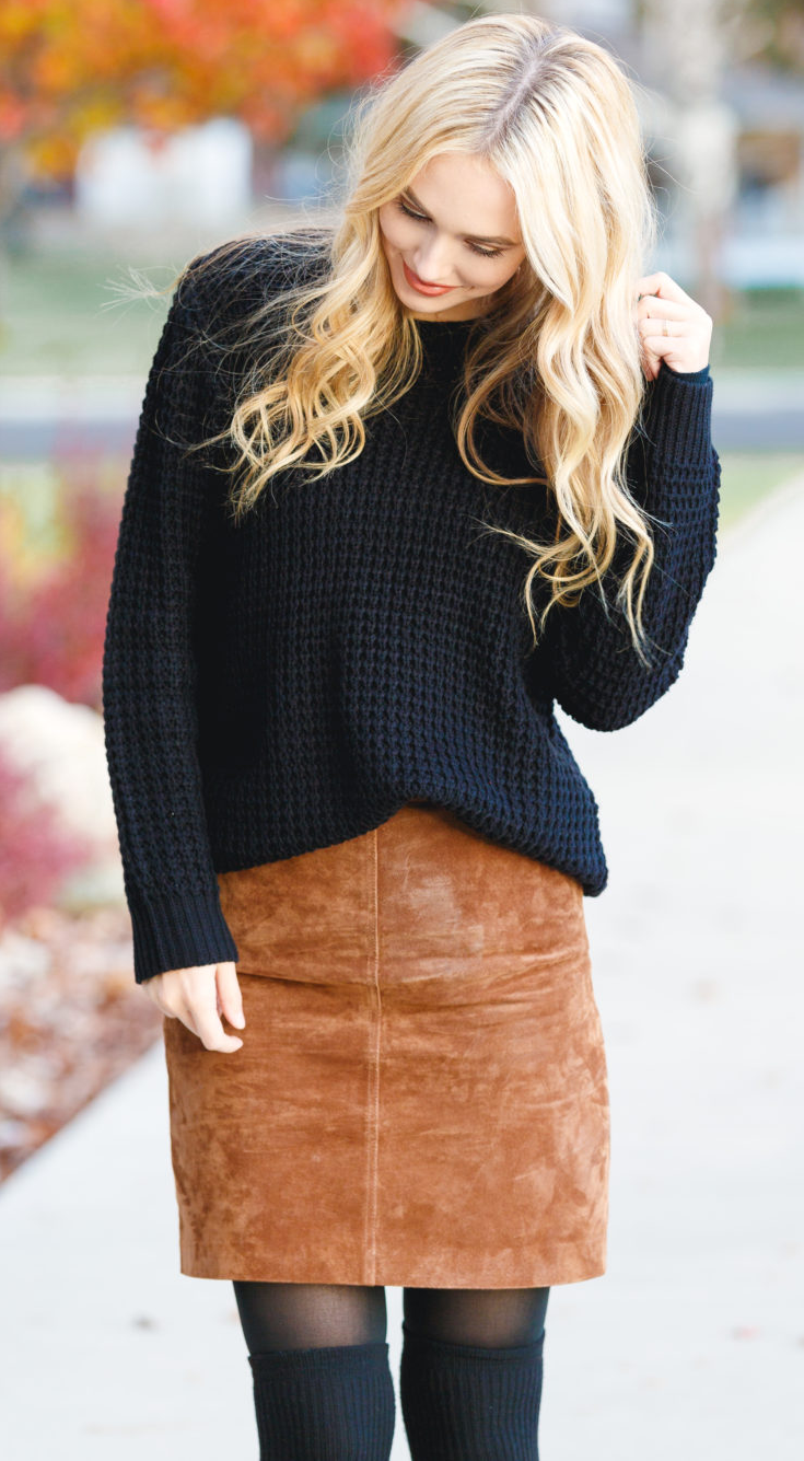5 Ways to Stay Sane During Holidays - Blue Eyed Finch - Black sweater, camel suede skirt, okt tights and black booties