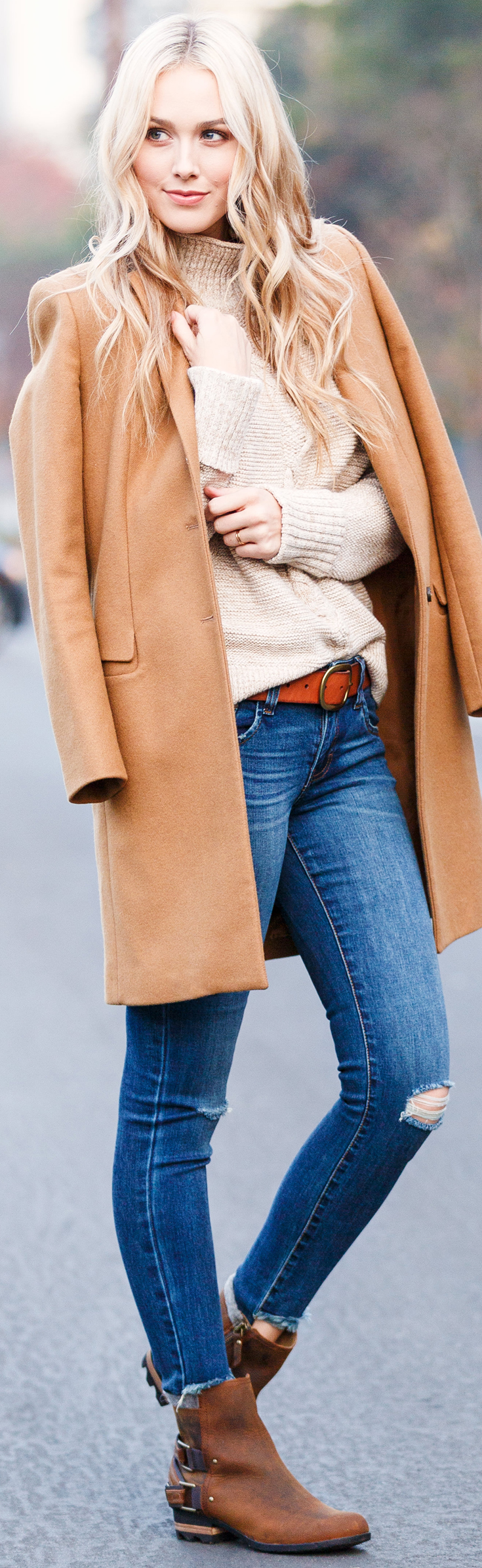 Holiday Travel Style - broken jeans, sweater, leather booties and leather belt - Sheridan Gregory -  Blue Eyed Finch
