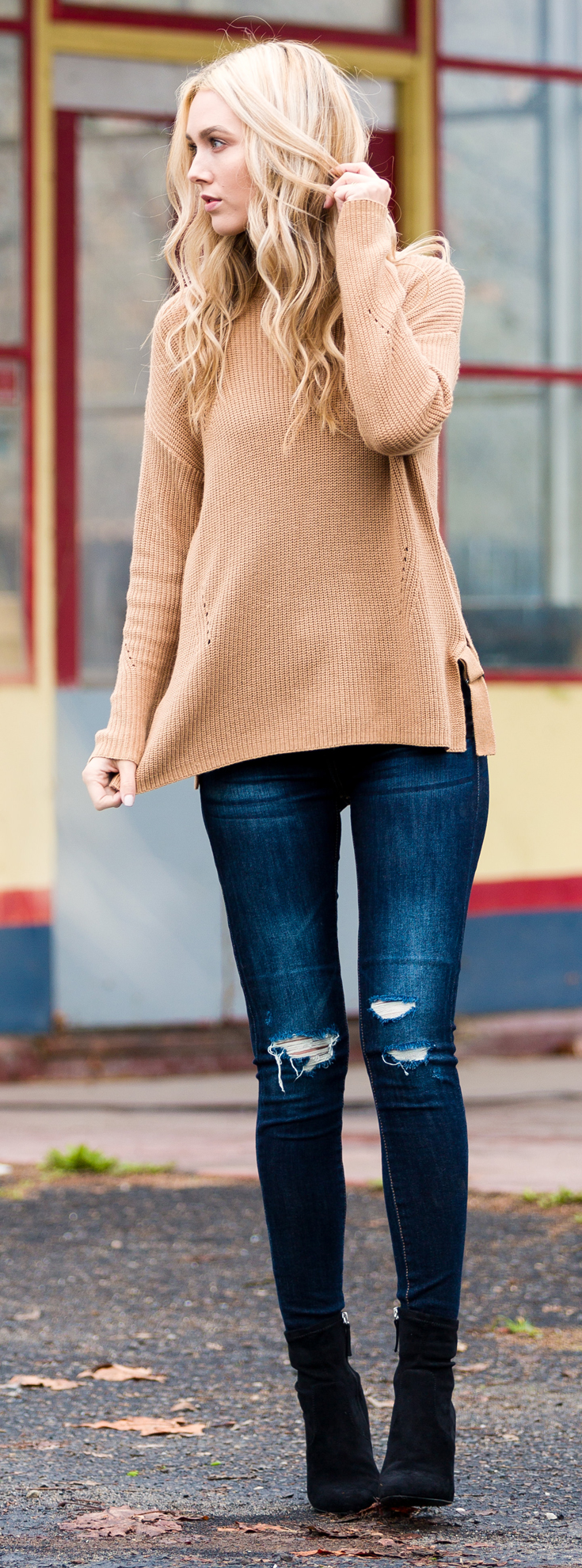 Camel sweater, Blue jeans and black boots - Sheridan Gregory, Blue Eyed Finch.