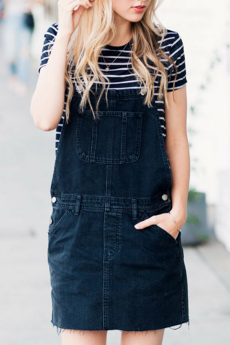 Sheridan Gregory Outfit of the day: ASOS denim overall dress in washed black, stripe crew neck t-shirt, ray ban aviator, asos darley clean lace up sneakers